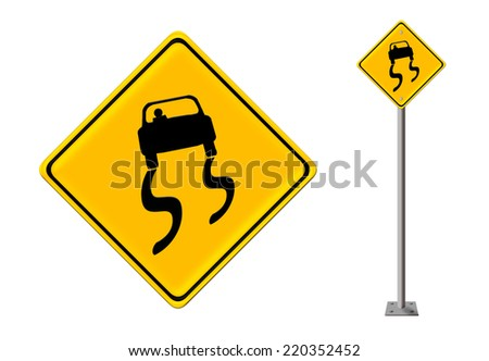slippery road sign - stock photo