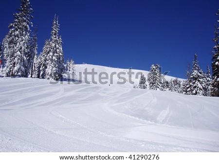 slope of Dragobrat ski resort in the morning - stock photo