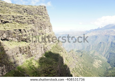 Slope of Simien mountains, Ethiopia - stock photo