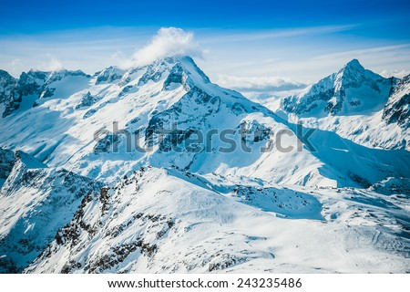 Slope on the skiing resort - stock photo