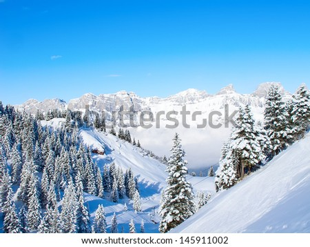 Slope on the skiing resort Flumserberg. Switzerland - stock photo