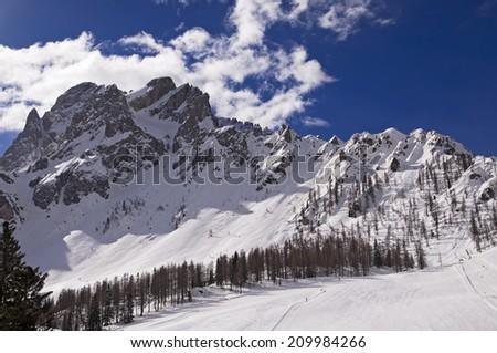 Slope on the Skiing Resort of Sesto (Croda Rossa / Rotwand), Alto Adige, Dolomites Alps, Italy - stock photo