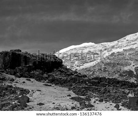 Slopes of Kilimanjaro (5.895 m) - Tanzania (black and white) - stock photo