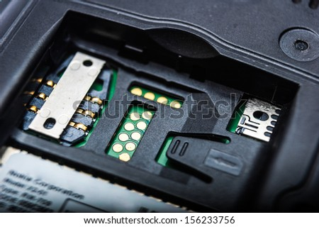Slot for SIM card Photo Close-up - stock photo