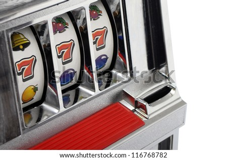 Slot machine and jackpot three seven isolated on white background - stock photo
