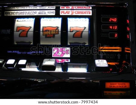 slot machine jackpot winnings at a casino - stock photo