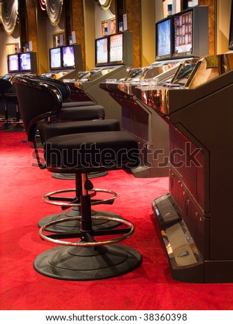 Slot machines in a casino (casino series) - stock photo