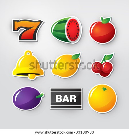 Slot symbols set 1. - stock photo