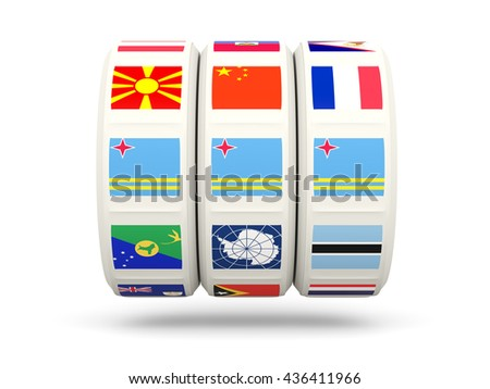 Slots with flag of aruba isolated on white. 3D illustration