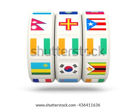 Slots with flag of cote d Ivoire isolated on white. 3D illustration