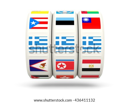 Slots with flag of greece isolated on white. 3D illustration