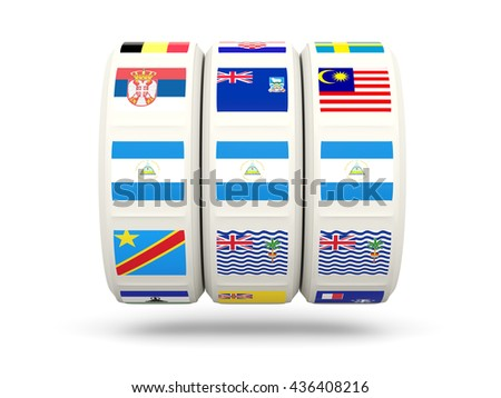 Slots with flag of nicaragua isolated on white. 3D illustration