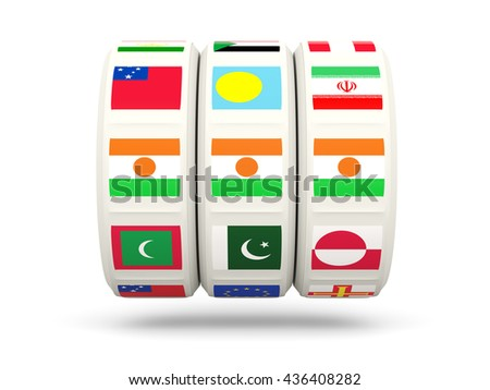 Slots with flag of niger isolated on white. 3D illustration