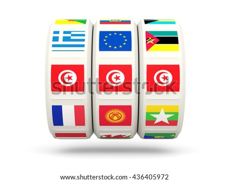 Slots with flag of tunisia isolated on white. 3D illustration