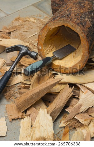 Slotting chisel the internal cavity of the birdhouse - stock photo