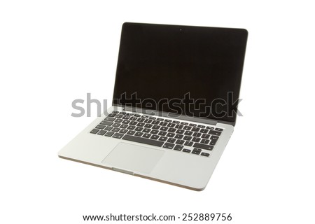 SLOUGH, UK - February 08, 2015: Apple MacBook Pro Computer. MacBook Pro Retina is a laptop developed by Apple Inc of California, USA and assembled in China. - stock photo