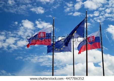 Slovak and EU flags - stock photo