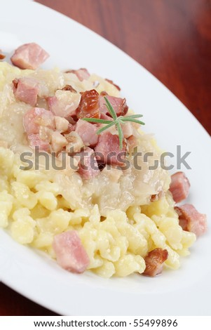 "Slovak national food called ""halusky"" - small potato dumplings (gnocchi) with sauerkraut and smoked meat"