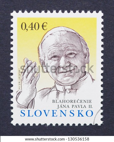 SLOVAKIA - CIRCA 2011: a postage stamp printed in Slovakia showing an image of Pope John Paul II, circa 2011.