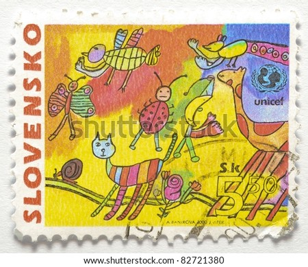 SLOVAKIA - CIRCA 2000: A stamp from Slovakia shows image of a child's drawing, circa 2000 - stock photo