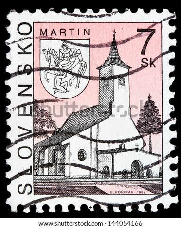 SLOVAKIA - CIRCA 1997: a stamp from Slovakia shows image of a church in Martin, circa 1997 - stock photo
