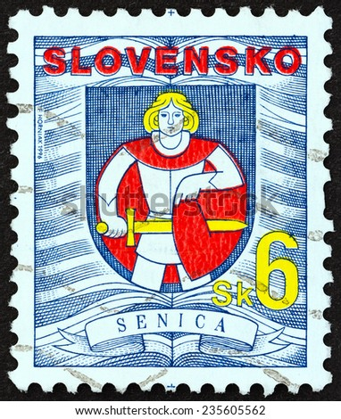 "SLOVAKIA - CIRCA 1996: A stamp printed in Slovakia from the ""City Arms "" issue shows Senica coat of arms, circa 1996.  - stock photo"