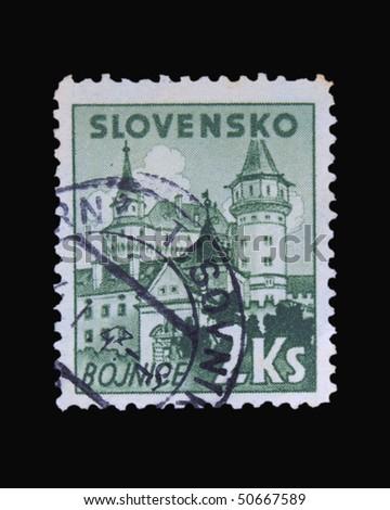 SLOVAKIA - CIRCA 1943: A stamp printed in Slovakia showing Bojnice circa 1943 - stock photo