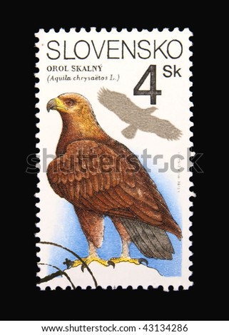 SLOVAKIA - CIRCA 1994: A stamp printed in Slovakia showing eagle circa 1994 - stock photo