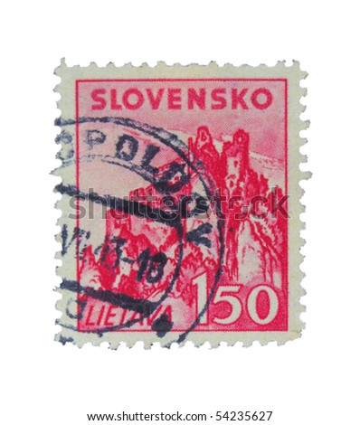 SLOVAKIA - CIRCA 1943: A stamp printed in Slovakia showing Lietava, circa 1943