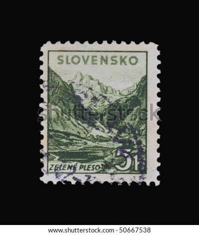 SLOVAKIA - CIRCA 1943: A stamp printed in Slovakia showing Zelene Pleso circa 1943 - stock photo