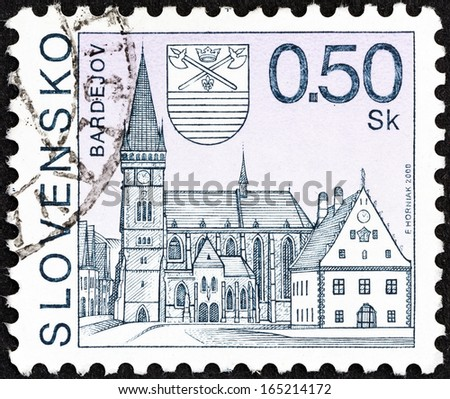 SLOVAKIA - CIRCA 2000: A stamp printed in Slovakia shows Bardejov town, circa 2000.  - stock photo