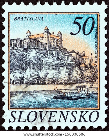 SLOVAKIA - CIRCA 1993: A stamp printed in Slovakia shows Bratislava, circa 1993.  - stock photo