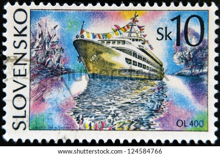 SLOVAKIA - CIRCA 1994: A stamp printed in Slovakia shows cruise ship, circa 1994 - stock photo
