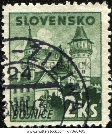 SLOVAKIA - CIRCA 1943: A stamp printed in Slovakia shows view of Bojnice, circa 1943 - stock photo