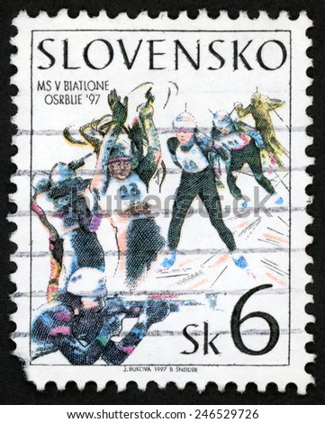 SLOVAKIA - CIRCA 1997: post stamp printed in Slovensko shows world Biathlon championships, Osrblie; shooting skiing winter sport; Scott 265 A131 6sk, circa 1997 - stock photo