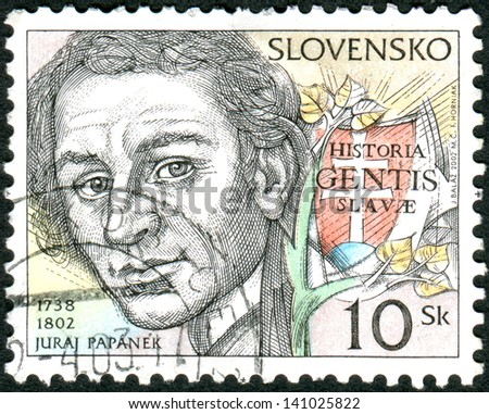 SLOVAKIA - CIRCA 2002: Postage stamp printed in Slovakia shows Juraj Papanek, priest and historian, circa 2002 - stock photo