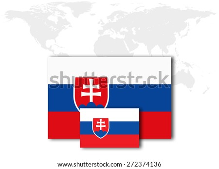 Slovakia flag and world map background