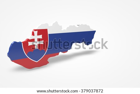 Slovakia flag 3d perspective view isolated
