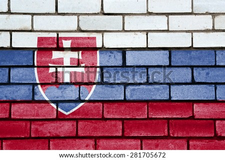 Slovakia flag painted on old brick wall texture background - stock photo