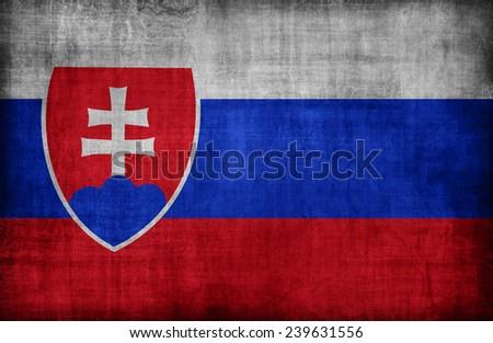Slovakia flag pattern  ,retro vintage style - stock photo