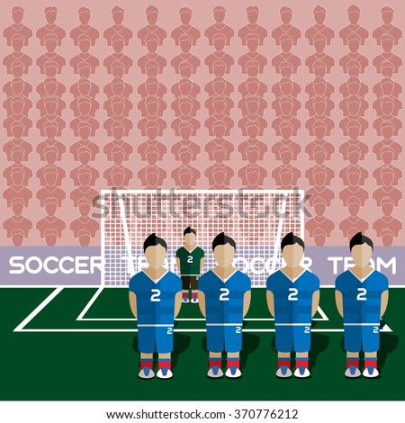 Slovakia Football Club Soccer Players Silhouettes. Computer game Soccer team players big set. Sports infographic. Football Teams in Flat Style. Goalkeeper Standing in a Goal. Raster illustration. - stock photo