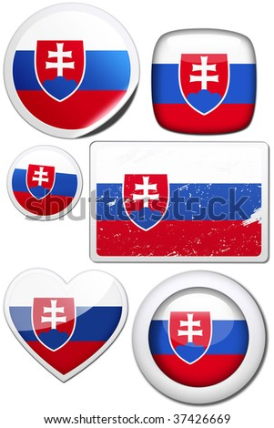 Slovakia - Glossy and colorful stickers with reflection set