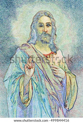 SLOVAKIA, MARCH 18, 2010: The ilustration of typical catholic image of Jesus Christ from end of 19. cent. from Slovakia after painter Hans Zatzka (nickname - Zabateri).