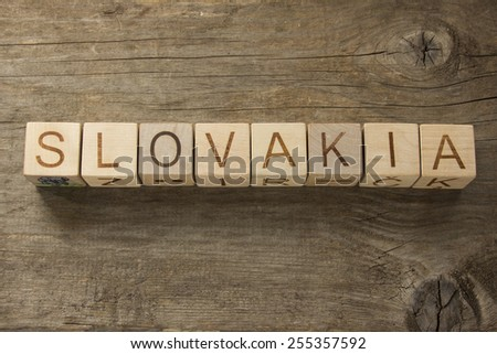 Slovakia on a wooden background - stock photo