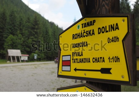 Slovakia, Tatra Mountains - Rohace. Labeled trails directory. Highest mountain range in the Carpathian Mountains.