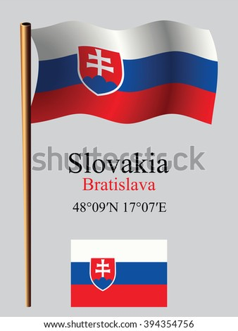 slovakia wavy flag and coordinates against gray background, art illustration, image contains transparency