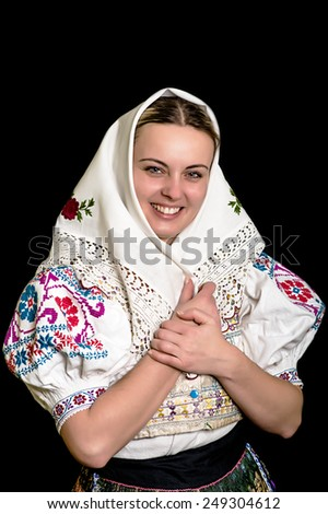 slovakian folk costume - embroidered traditional dress - stock photo