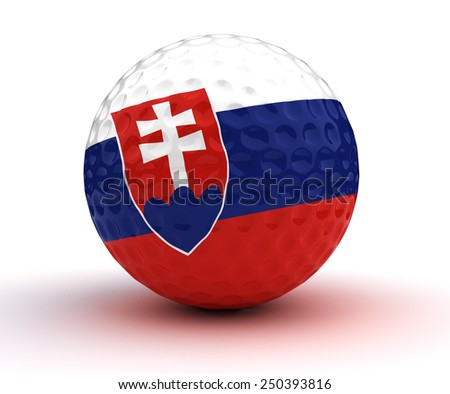 Slovakian Golf Ball (Isolated with clipping path)