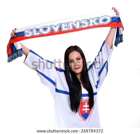 Slovakian Hockey Fan - stock photo