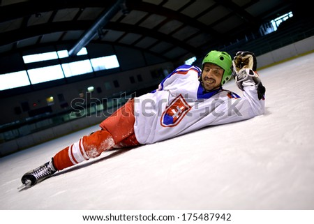 Slovakian ice hockey player - stock photo